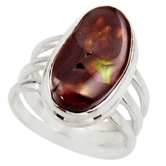 7.36cts natural mexican fire agate 925 silver solitaire ring size 7.5 r17058
