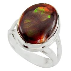 925 silver 6.84cts natural mexican fire agate fancy solitaire ring size 6 r17059