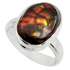 6.54cts natural mexican fire agate 925 silver solitaire ring size 7 r17060