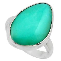 10.24cts natural green campitos turquoise silver solitaire ring size 9 r17062