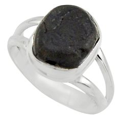 925 silver 5.38cts natural black tourmaline rough solitaire ring size 6.5 r17084