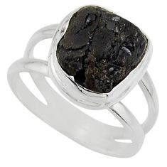 4.68cts natural black tourmaline rough 925 silver solitaire ring size 7 r17086