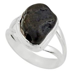 5.63cts natural black tourmaline rough 925 silver solitaire ring size 6 r17090