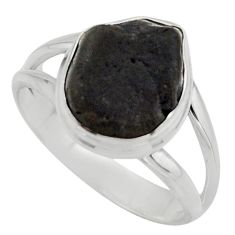 6.02cts natural black tourmaline rough 925 silver solitaire ring size 8.5 r17094