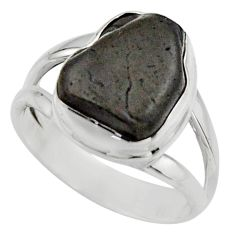 5.56cts natural black tourmaline rough 925 silver solitaire ring size 6 r17095