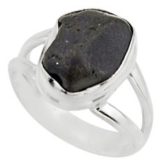 925 silver 5.63cts natural black tourmaline rough solitaire ring size 6 r17096