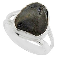 5.87cts natural black tourmaline rough 925 silver solitaire ring size 6.5 r17098