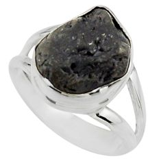 5.38cts natural black tourmaline rough 925 silver solitaire ring size 6 r17099