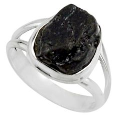 925 silver 5.87cts natural black tourmaline rough solitaire ring size 8 r17100