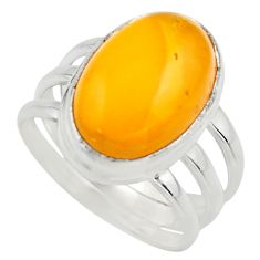 7.40cts natural yellow amber bone 925 silver solitaire ring size 8 r17125