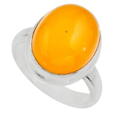 925 silver 7.82cts natural yellow amber bone oval solitaire ring size 7.5 r17126