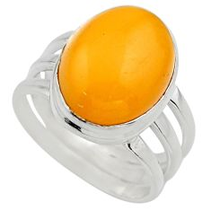 6.83cts natural yellow amber bone 925 silver solitaire ring size 7.5 r17127