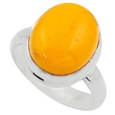 5.36cts natural yellow amber bone 925 silver solitaire ring size 6 r17128