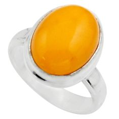 5.10cts natural yellow amber bone 925 silver solitaire ring size 6 r17129