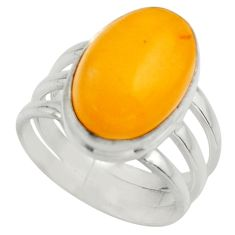 6.83cts natural yellow amber bone 925 silver solitaire ring size 6.5 r17130