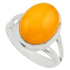 925 silver 6.36cts natural yellow amber bone oval solitaire ring size 8 r17131