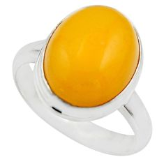 6.85cts natural yellow amber bone 925 silver solitaire ring size 9 r17132