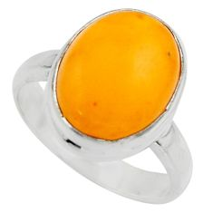 6.02cts natural yellow amber bone 925 silver solitaire ring size 8 r17133