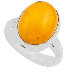 6.57cts natural yellow amber bone 925 silver solitaire ring size 7 r17134