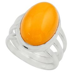 925 silver 6.58cts natural yellow amber bone oval solitaire ring size 6 r17135
