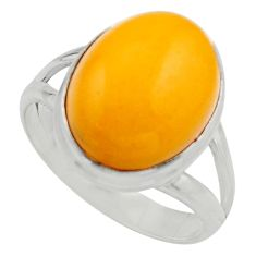 6.54cts natural yellow amber bone 925 silver solitaire ring size 8.5 r17136
