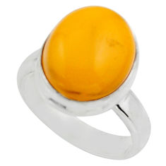 5.23cts natural yellow amber bone 925 silver solitaire ring size 6 r17137