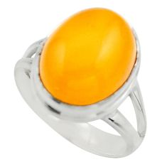 925 silver 6.02cts natural yellow amber bone oval solitaire ring size 7 r17138