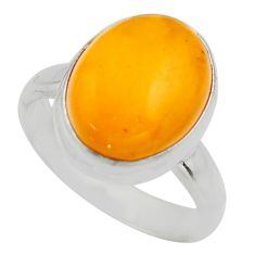 6.47cts natural yellow amber bone 925 silver solitaire ring size 8 r17139
