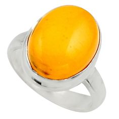 925 silver 5.82cts natural yellow amber bone oval solitaire ring size 6 r17140