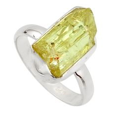 7.41cts natural green apatite rough 925 silver solitaire ring size 7.5 r17163
