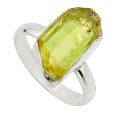 7.04cts natural green apatite rough 925 silver solitaire ring size 8 r17165