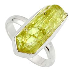9.05cts natural green apatite rough 925 silver solitaire ring size 8 r17166