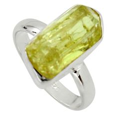 925 silver 7.50cts natural green apatite rough solitaire ring size 8 r17168