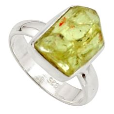 6.57cts natural green apatite rough 925 silver solitaire ring size 6 r17170
