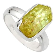 5.96cts natural green apatite rough 925 silver solitaire ring size 7 r17171