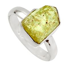 925 silver 5.06cts natural green apatite rough solitaire ring size 7 r17172