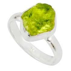 4.80cts natural green peridot rough 925 silver solitaire ring size 6 r17181
