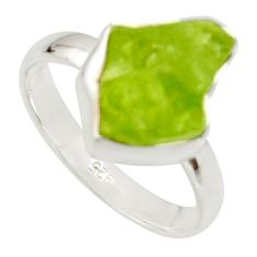 6.70cts natural green peridot rough 925 silver solitaire ring size 8 r17183