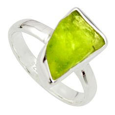 925 silver 5.96cts natural green peridot rough solitaire ring size 8 r17184