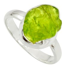 6.38cts natural green peridot rough 925 silver solitaire ring size 9 r17187