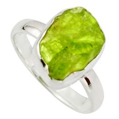 5.95cts natural green peridot rough 925 silver solitaire ring size 8 r17189
