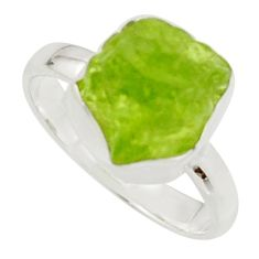 6.26cts natural green peridot rough 925 silver solitaire ring size 8 r17190