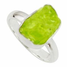 925 silver 6.27cts natural green peridot rough solitaire ring size 7 r17193