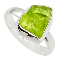 925 silver 5.06cts natural green peridot rough solitaire ring size 7 r17197