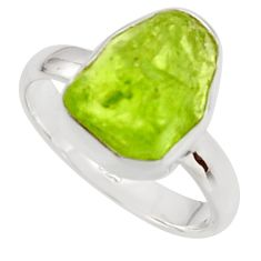5.54cts natural green peridot rough 925 silver solitaire ring size 7 r17198
