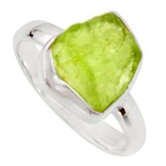 5.54cts natural green peridot rough 925 silver solitaire ring size 7 r17199