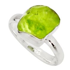 5.45cts natural green peridot rough 925 silver solitaire ring size 7 r17200