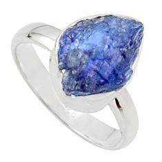 5.64cts natural blue iolite rough 925 silver solitaire ring size 7 r17202