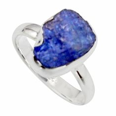 5.63cts natural blue iolite rough 925 silver solitaire ring size 8 r17203