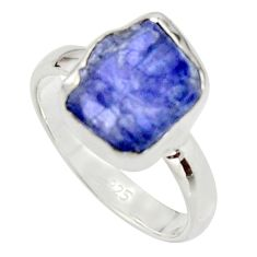 925 silver 5.64cts natural blue iolite rough fancy solitaire ring size 7 r17204